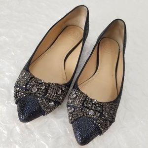 Tory Burch 'Esme' snake leather crystal bow flats